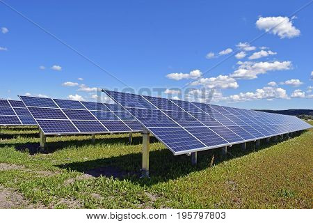 Solar energy panels. Clear blue sky on background.