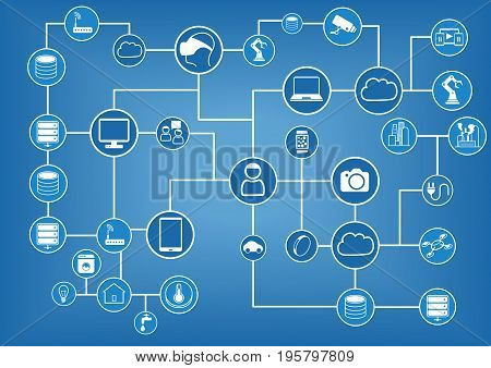 Computer network of connected devices vector background