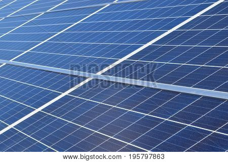 Close up of solar panels. Horizontal image.