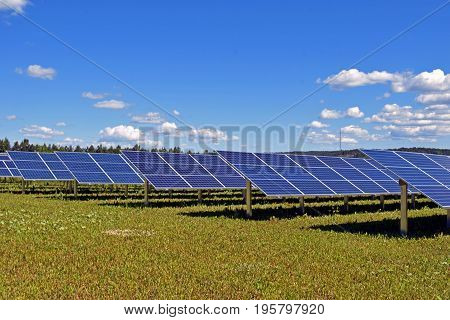Rows of solar panels on field. Horizontal image with text space.
