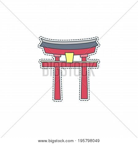 Hand drawn patch badge with Japan symbol - Itsukushima. Sticker, pin and patch in cartoon 80s-90s comic style.