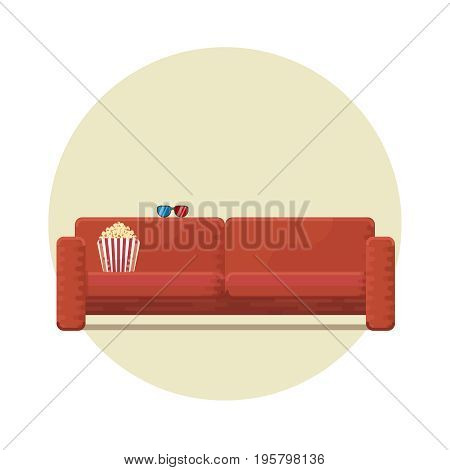 Cozy couch for an evening watching a movie 3D glasses and bucket with popcorn paper box icon flat vector illustration on white background in round