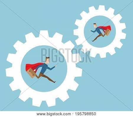 businessman with red cape and breafcase in hand running in cog gear wheels business movitation concept cartoon vector illustration