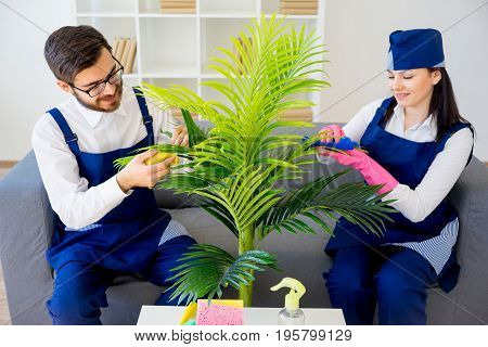 Two cleaning service workers tidy up apartment