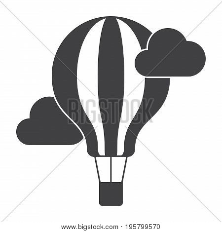 Aeronautics concept with balloon and clouds, vector silhouette