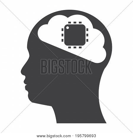 Artificial intelligence concept with cyborg or robot