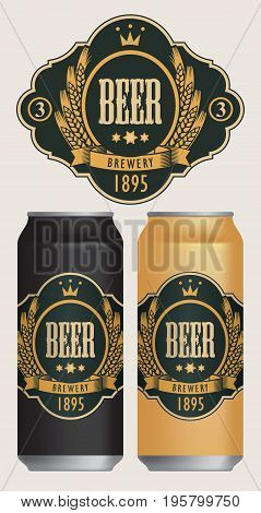 Vector beer label with coat of arms wreath of wheat and ribbon in curly frame on black background in retro style. Two templates labels for beer on beer cans.
