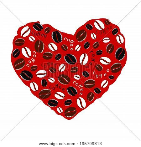 Heart from coffee beans on red background. In love with coffee