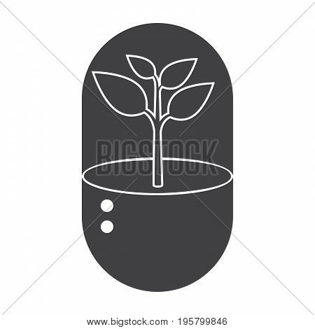 Biotechnology concept with plant growth in capsule, vector silhouette