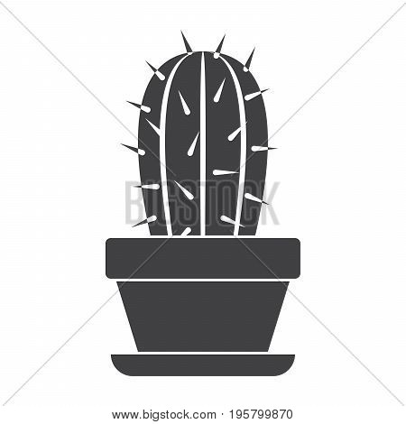 Botany concept with cactus in flower pot, vector silhouette