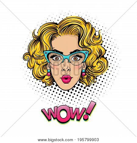 Pop art female face. Sexy surprised young woman head with wide open eyes open mouth and blonde curly hair in glasses and Wow halftone text. Vector colorful object in pop art retro comic style on white background.