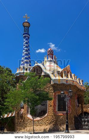 Park Guell by Antonio Gaudi in Barcelona, Spain Catalonia