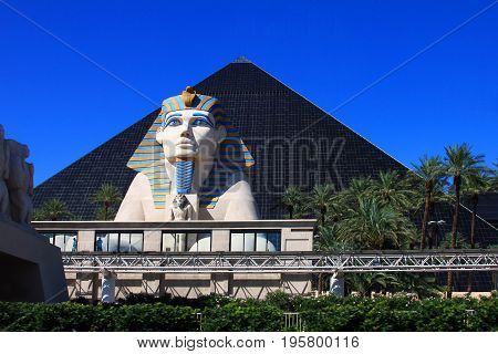 Sphinx On The Luxor Hotel Ground In Las Vegas.