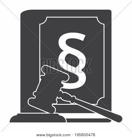 Jurisprudence concept with judges gavel and law book, vector silhouette