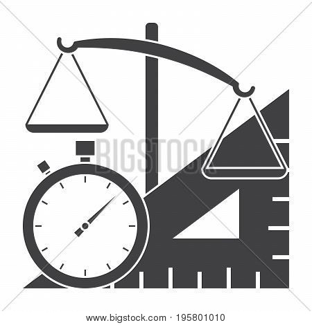 Metrology concept with scales, ruler and stopwatch, vector silhouette