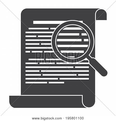 Philology concept with written records and magnifying glass, vector silhouette