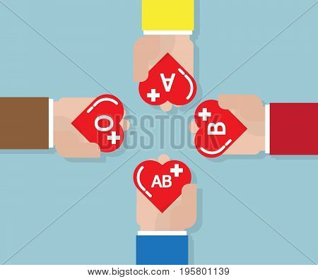 blood donate donation concept with heart shape in human hand vector illustration