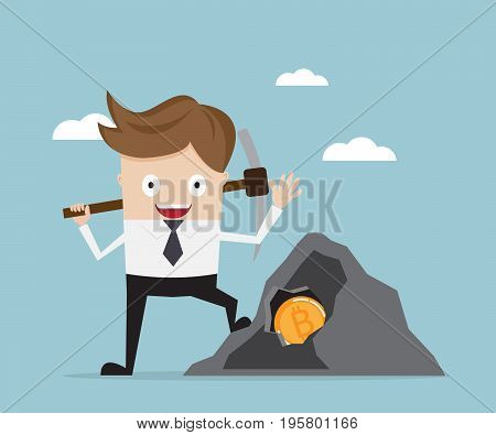 businessman mining for bitcoin Cryptocurrency concept cartoon vector illustration