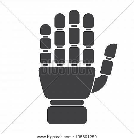 Robotic mechanical arm, prosthetic hand, vector silhouette