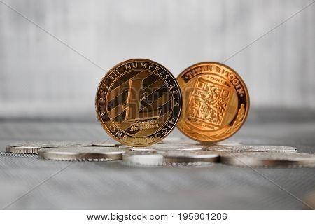 Gold Litecoin Coin And Titan Bitcoin