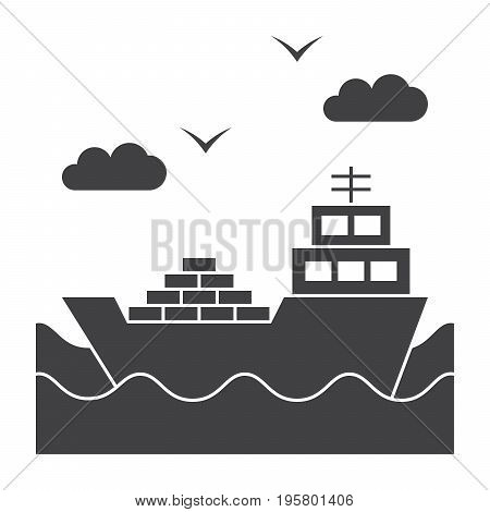 Shipbuilding concept with ship at sea, vector silhouette
