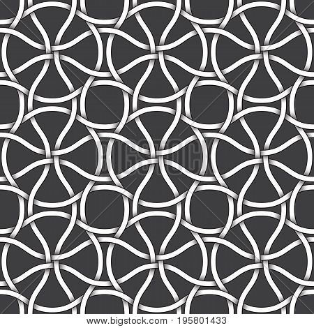 Abstract repeatable pattern background of white twisted strips bands with black strokes. Swatch of intertwined winding bands. Seamless pattern in vintage style.