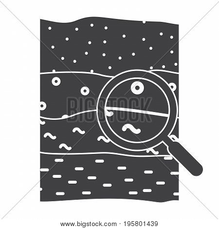 Soil science concept with soil profile and magnifying glass, vector silhouette