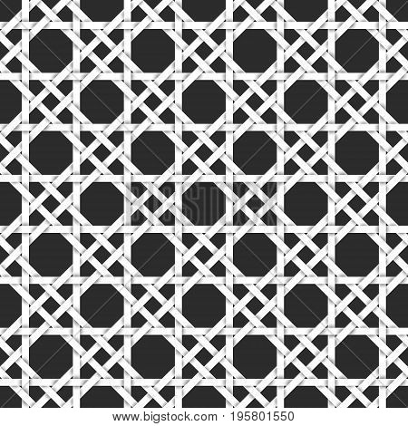 Abstract repeatable pattern background of white twisted strips. Swatch of intertwined straight bands. Seamless pattern in vintage style.