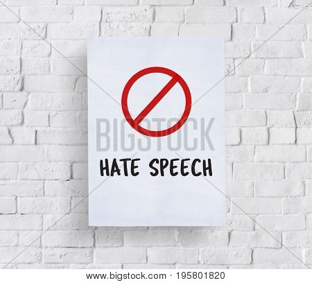 Stop symbol hate speech text banner
