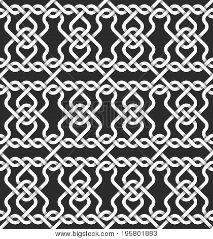 Abstract repeatable pattern background of white twisted strips. Swatch of intertwined wavy bands. Seamless pattern with volume effect.