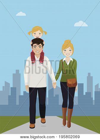 Familiy enjoying a walk in the street