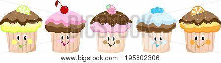 Cute cartoon cakes set collection, smiley, sticker
