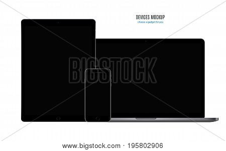 devices mockup: smartphone tablet and laptop black color with blank screen isolated on white background. stock vector illustration eps10