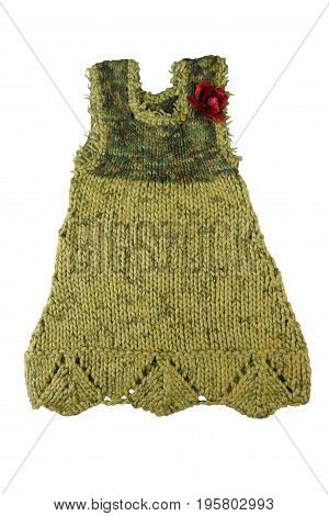 Knitted dress sarafan for girl. Fashion female child's (baby) dress isolated on white