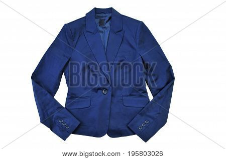 Female blue casual jacket. clothes for women - jacket isolated on white