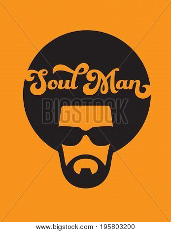 Soul Man Retro Illustration Vector design of funky soul man with afro on orange background.