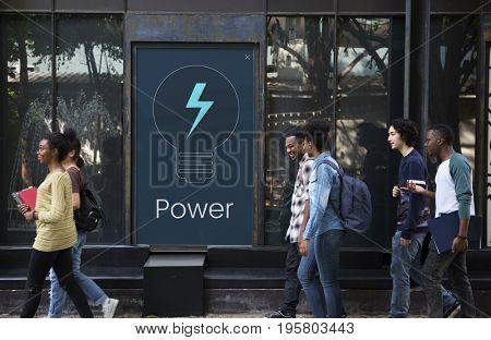 Power energy saving with lightbulb icon