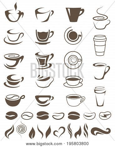 Coffee Cups, Beans and Steam Shapes Template For Logos . Coffee and Tea logo. Set of Vector Coffee Elements and Accessories