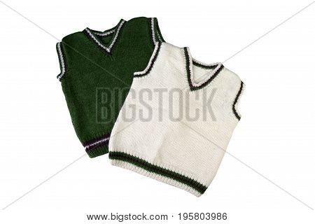 wool childrens vest. Children's wear - sleeveless pullover isolated on a white background