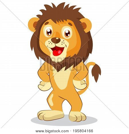 Happy Leo. Cartoon Lion Vector. Cute Character. Kids Funny Illustration. Lion Funny Mascot. Cute Jungle Animals.