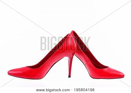 Red High Heeled Shoes Isolated On White Background