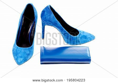 Clutch And Female Footwear. Purse And High Heeled Suede Shoes