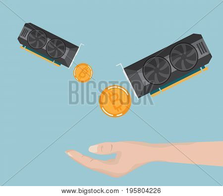 hand receive bitcoin ethereum from display card cryptocurrency concept vector illustration
