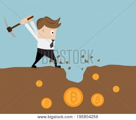 businessman mining for bitcoin cryptocurrency concept vector illustration