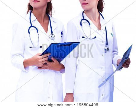 Two woman nurse watching X Ray image