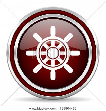 Ship wheel red glossy icon. Chrome border round web button. Silver metallic pushbutton.