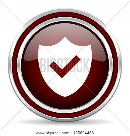 Shield red glossy icon. Chrome border round web button. Silver metallic pushbutton.