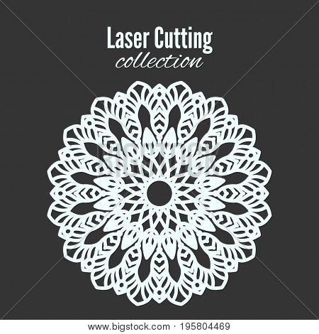 Vector laser flower cut the template frame. Floral mandala for the plotter. Pattern for home decoration, shop showcase, wall, photo, frame and design.