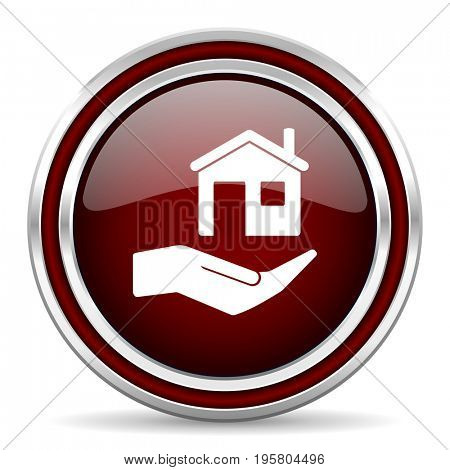 House care red glossy icon. Chrome border round web button. Silver metallic pushbutton.