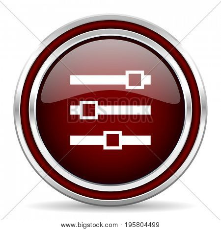 Slider red glossy icon. Chrome border round web button. Silver metallic pushbutton.